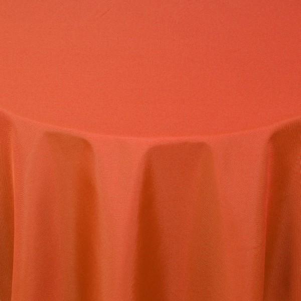 Tischdecken Damast Rund mit Saum Uni Orange