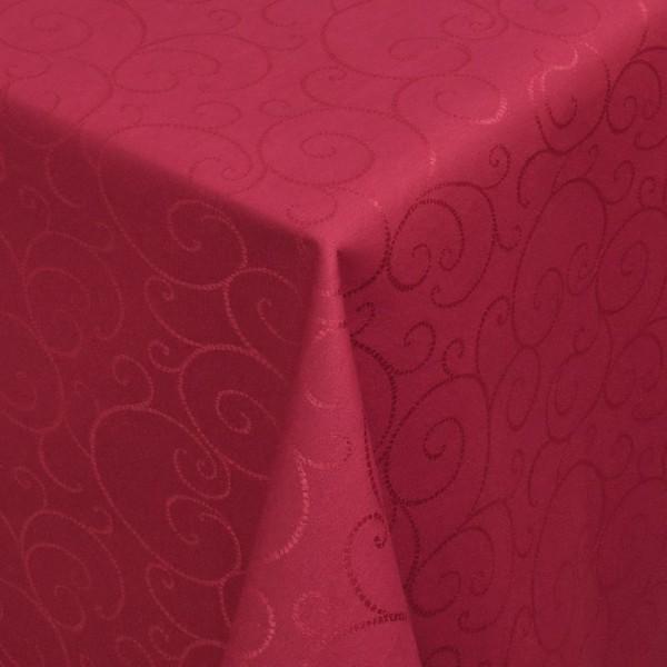 Tischdecken Jacquard-Gewebe mit Fleckschutz und Saum Marbella in Wein-Rot