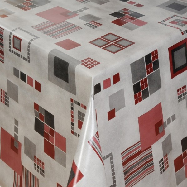 Tischdecke Abwaschbar Wachstuch Quatratische Formen Grau im Wunschmaß