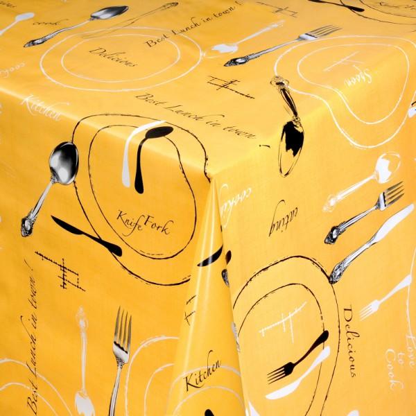Tischdecke Abwaschbar Wachstuch Lunch Motiv Gelb im Wunschmaß