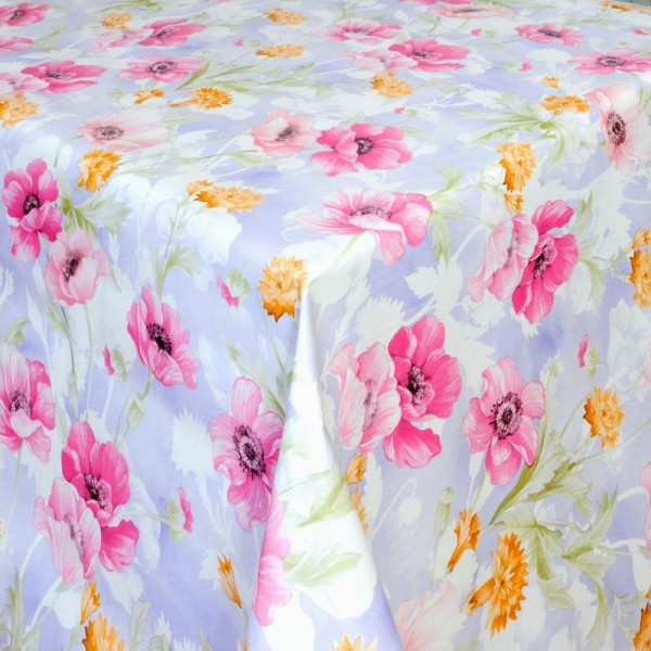 Tischdecke Abwaschbar Wachstuch Blumen Motiv Grün Gelb im Wunschmaß