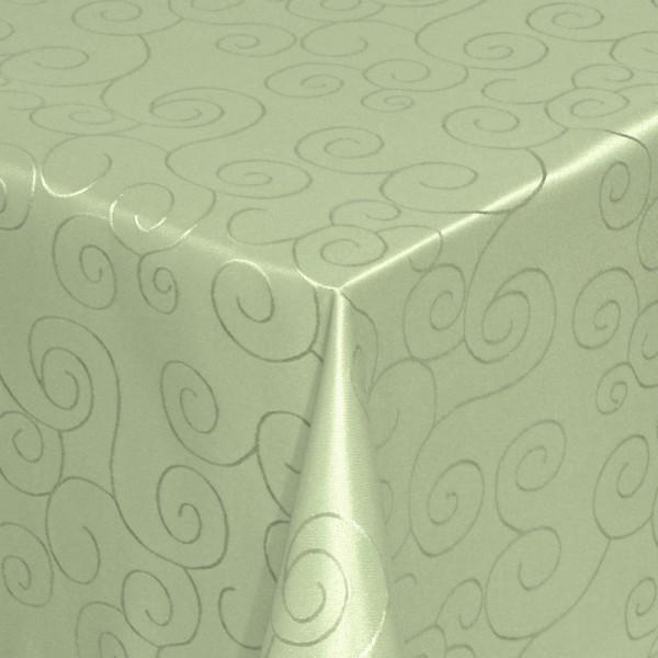 Tischdecken Damast Eckig mit Saum Ornamente Lind-Grün