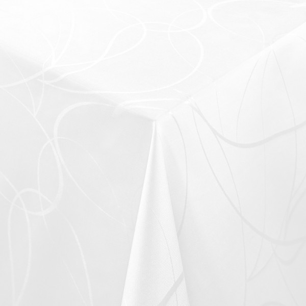 Tischdecken Aversa Jaquard-Gewebe in Weiss mit Fleckschutz