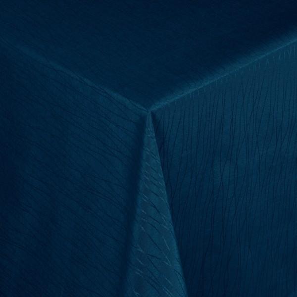 Tischdecken Jacquard-Gewebe mit Fleckschutz und Saum Florenz in Blau
