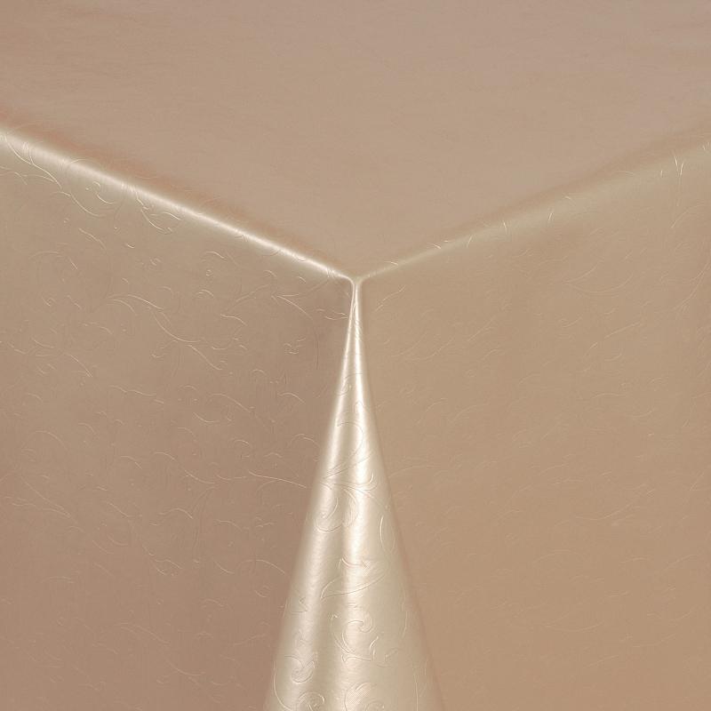 tischdecke abwaschbar wachstuch relief blumenkelche creme im wunschma. Black Bedroom Furniture Sets. Home Design Ideas