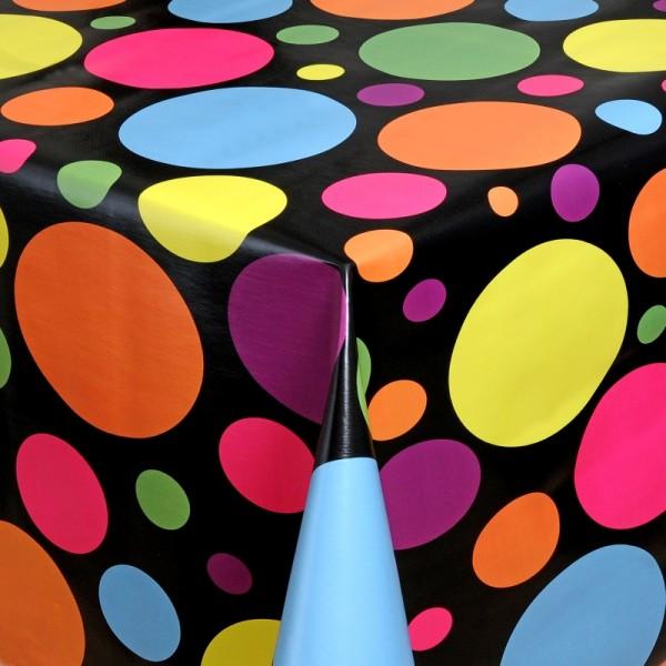 Tischdecke Abwaschbar Wachstuch Punkte Motiv Schwarz Lila im Wunschmaß
