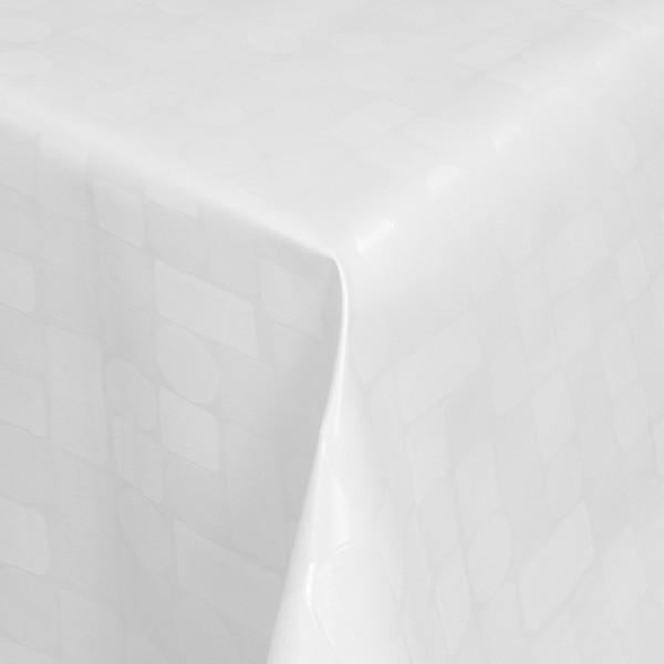 Tischdecke Abwaschbar Wachstuch Relief Karos Kreise Weiss im Wunschmaß