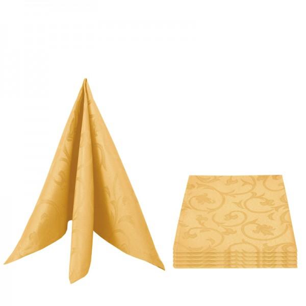 Servietten Damast Barock 50x50 Dunkel-Gelb (6er Pack)