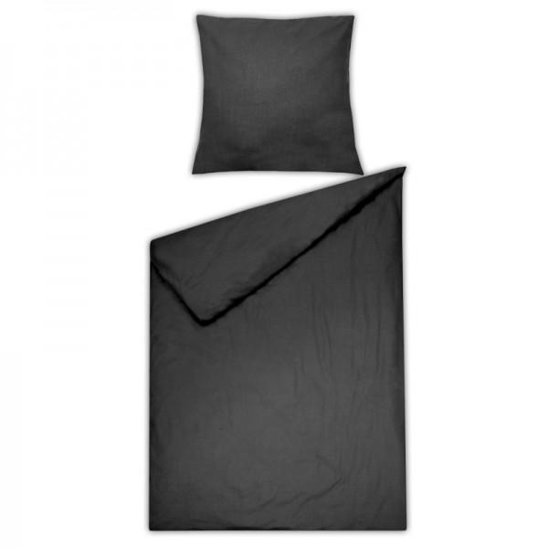 Bettwäsche Moderno Renforcé einfarbig in Schwarz