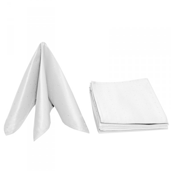 Servietten Damast Punkte 50x50 Weiss (6er Pack)