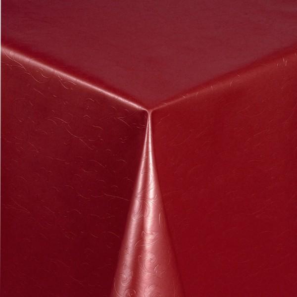 Tischdecke Abwaschbar Wachstuch Relief Blumenkelche Rot im Wunschmaß