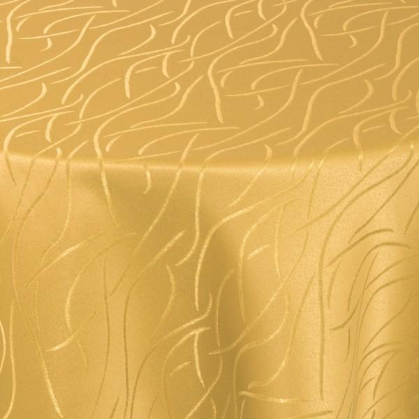 Tischdecken Damast Rund mit Saum Streifen Dunkel-Gelb