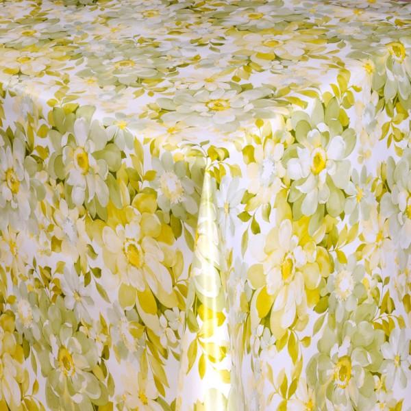 Tischdecke Abwaschbar Wachstuch mehrfarbige Blumen Lila im Wunschmaß