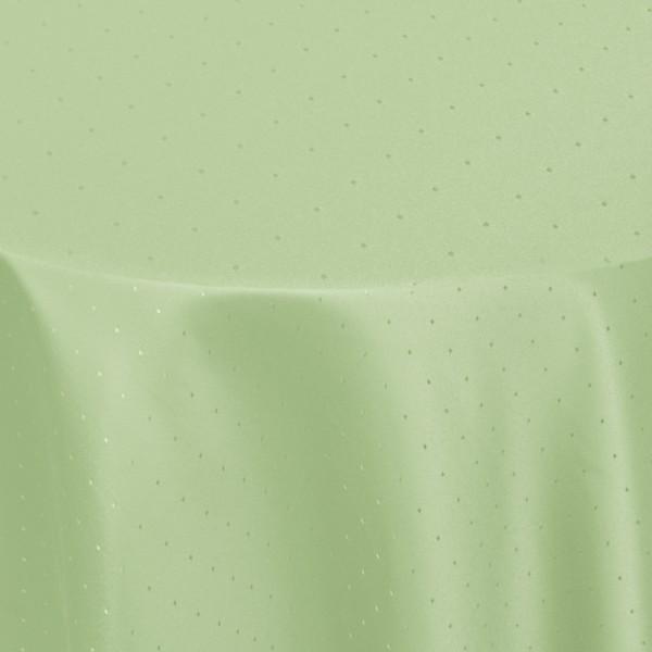 Tischdecken Damast Rund mit Saum Punkte Lind-Grün