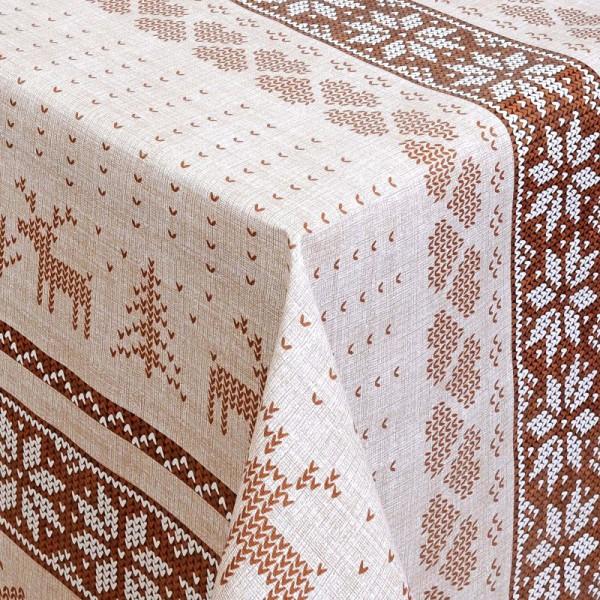 Tischdecke Abwaschbar Wachstuch Weihnachten Hirsch-Motiv Braun Wunschmaß