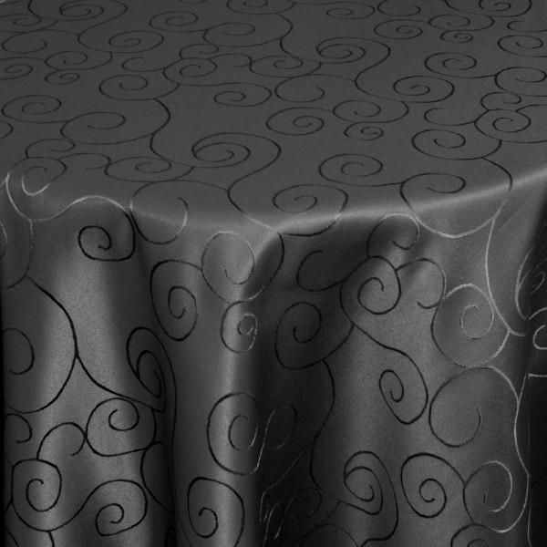 Tischdecken Damast Oval mit Saum Ornamente Schwarz