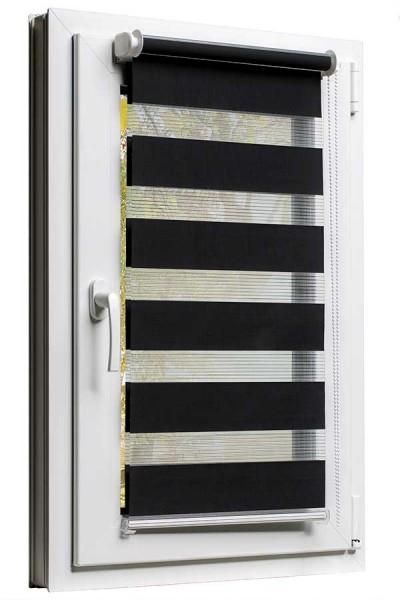 Fensterrollo mit Kettenzug und Klemmfix ohne bohren in Schwarz