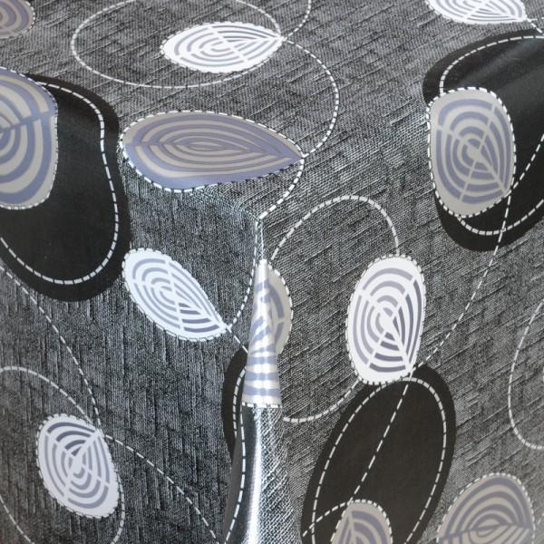 Tischdecke Abwaschbar Wachstuch Blätter Motiv Schwarz im Wunschmaß