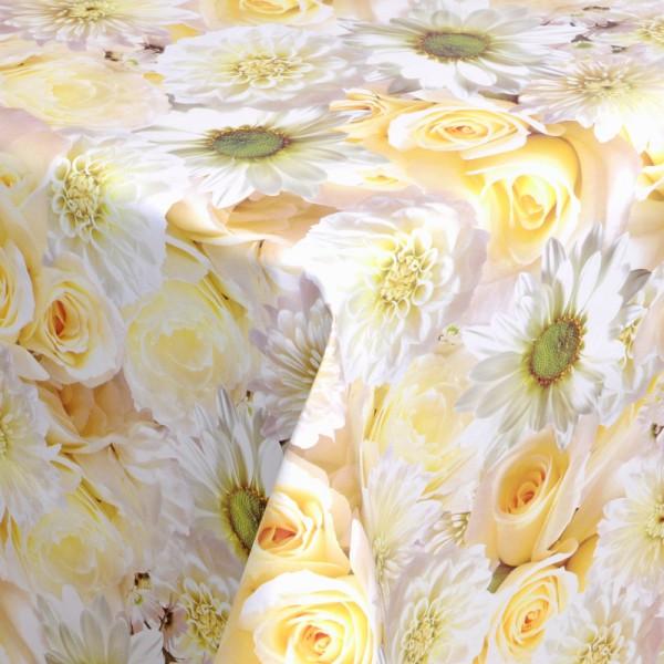 Tischdecke Abwaschbar Wachstuch Rosen Motiv Creme Weiss im Wunschmaß