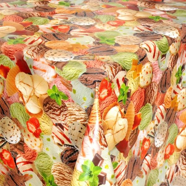 Tischdecke Abwaschbar Wachstuch mit verschiedenen Eiskugeln Wunschmaß