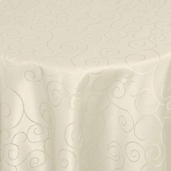 Tischdecken Damast Oval mit Saum Ornamente Creme-Champagner
