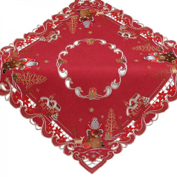 Tischdecke Mitteldecke Aufleger mit Stickerei in Rot