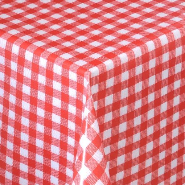 Tischdecke Abwaschbar Wachstuch Karos Rot Weiss im Wunschmaß