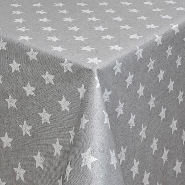 Tischdecken Jacquard-Gewebe mit Fleckschutz und Saum Sterne in Grau