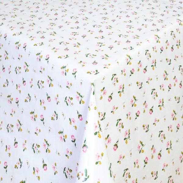 Tischdecke Abwaschbar Wachstuch Moosröschen Rosa Weiss im Wunschmaß