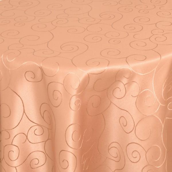 Tischdecken Damast Rund mit Saum Ornamente Apricot