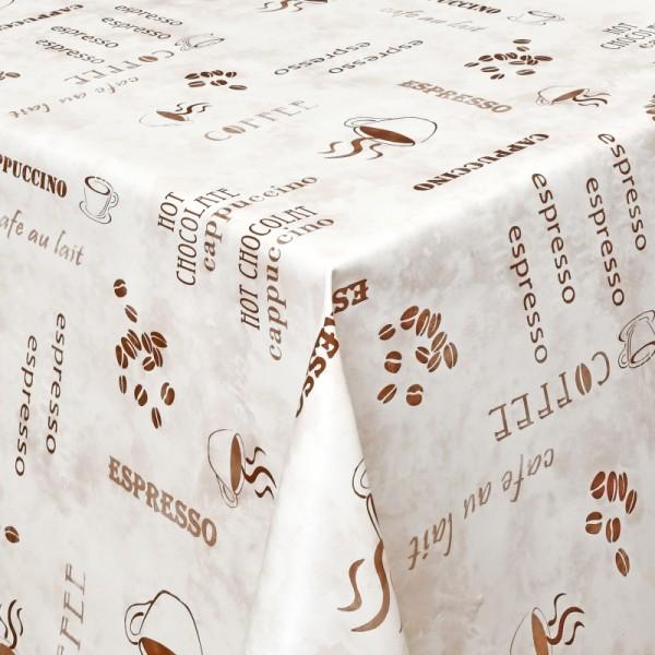 Tischdecke Abwaschbar Wachstuch Lebensmittelecht Kaffee-Motiv Beige