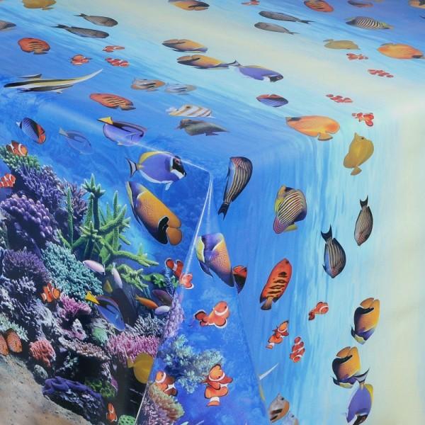 Tischdecke Abwaschbar Wachstuch Aquarium Motiv Hell-Blau im Wunschmaß