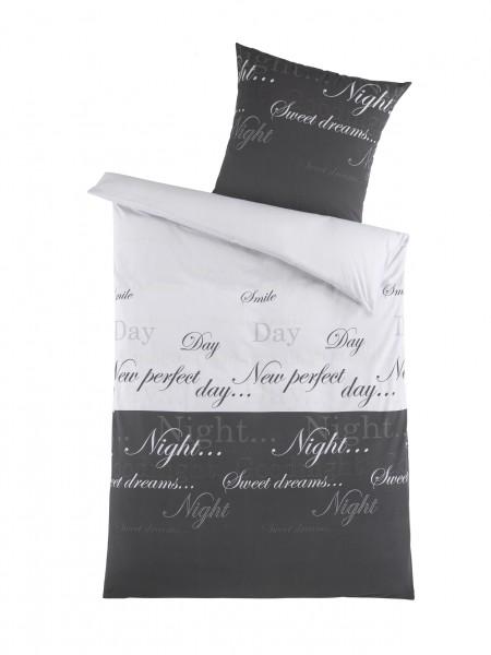 """Bettwäsche OptiDream Biber """"Night & Day"""" 2tlg. 135x200 cm in Grau"""