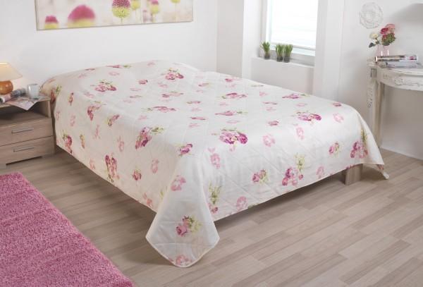 Tagesdecke Bettüberwurf mit Rosenmotiv 220x240 cm