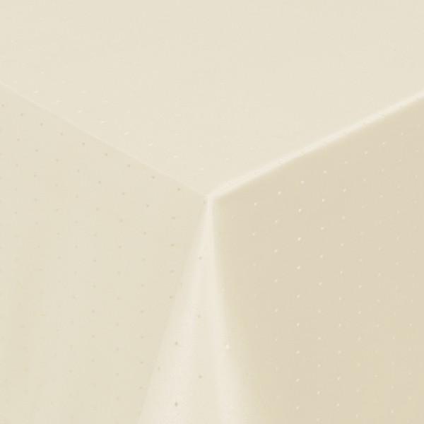 Tischdecken Damast Eckig mit Saum Punkte Creme-Champagner