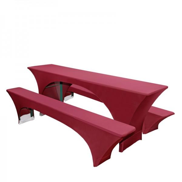 Stretchhusse Hussen für Bierzeltgarnitur Bierbankhussen in Rot