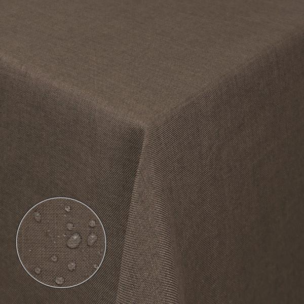 Tischdecken Damast Eckig Leinen Meliert wasserabweisend Dunkel-Braun