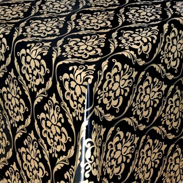 Tischdecke Abwaschbar Wachstuch Barock Schwarz Gold im Wunschmaß