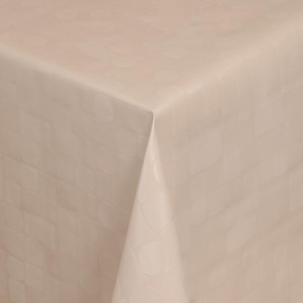 Tischdecke Abwaschbar Wachstuch Relief Karos Kreise Beige im Wunschmaß