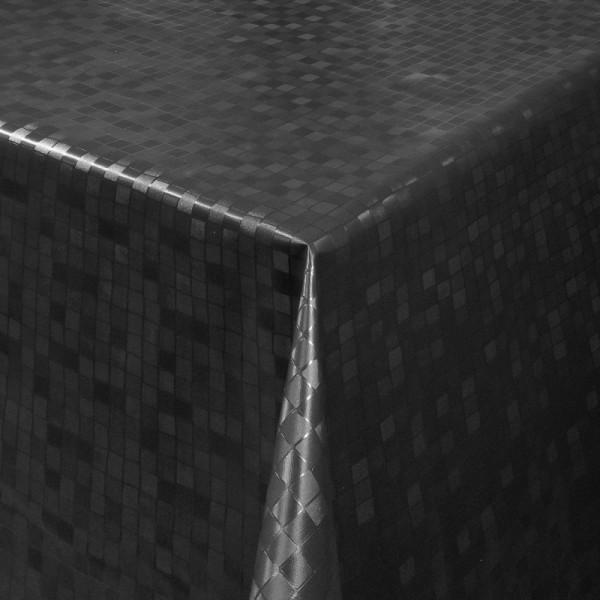 Tischdecke Abwaschbar Wachstuch Relief Quadrate Schwarz im Wunschmaß