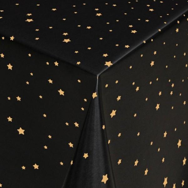 Tischdecke Abwaschbar Wachstuch Stilisierte Sterne Gold Blau im Wunschmaß