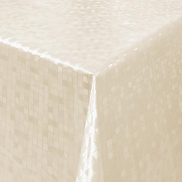 Tischdecke Abwaschbar Wachstuch Relief Quadrate Creme im Wunschmaß