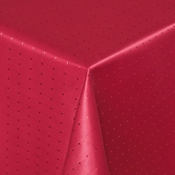 Tischdecken Damast Eckig mit Saum Punkte Wein-Rot
