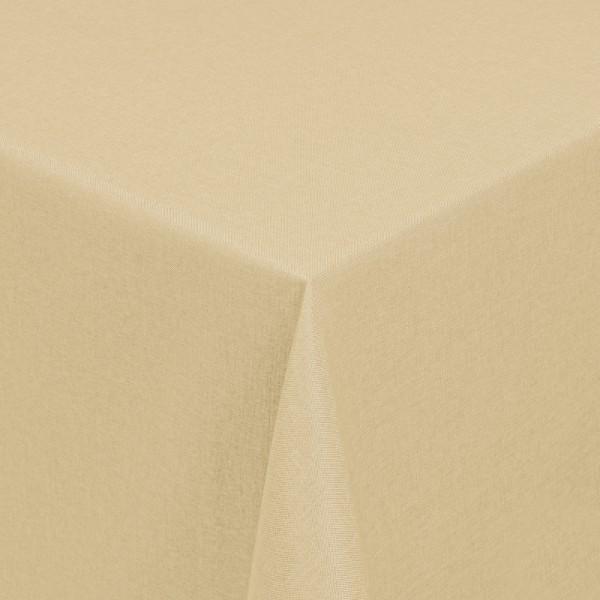 Tischdecken Damast Eckig mit Saum Leinen-Optik Creme-Champagner