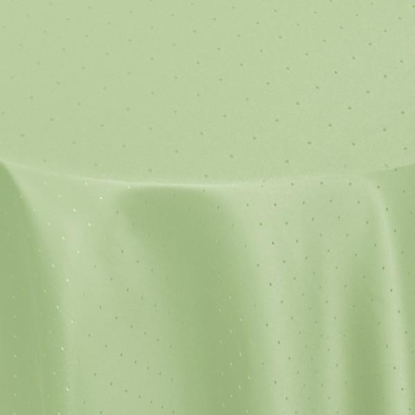 Tischdecken Damast Oval mit Saum Punkte Lind-Grün