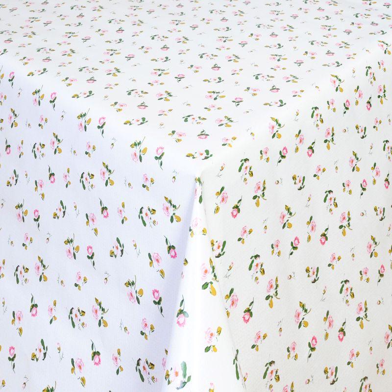 tischdecke abwaschbar wachstuch moosr schen rosa weiss im wunschma. Black Bedroom Furniture Sets. Home Design Ideas