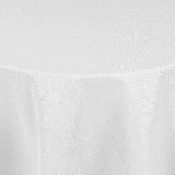 Tischdecken Damast Rund mit Saum Leinen-Optik Weiss
