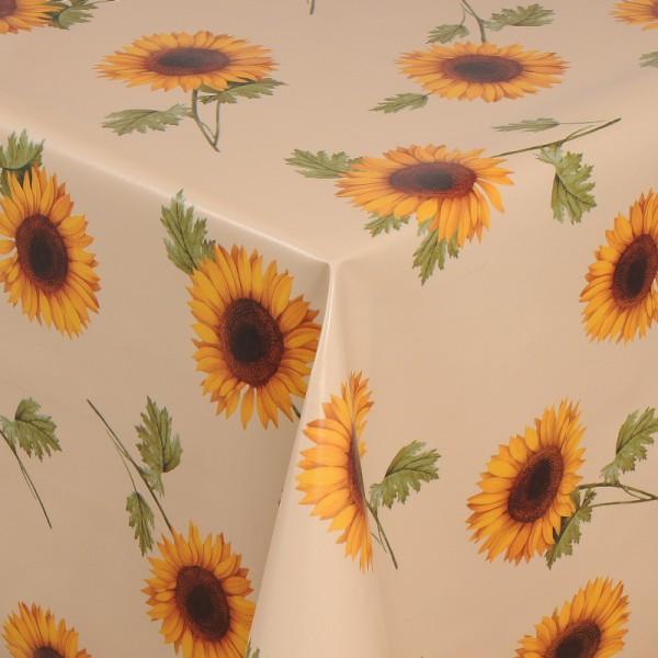Tischdecke Abwaschbar Wachstuch Sonnenblumen Motiv Beige im Wunschmaß