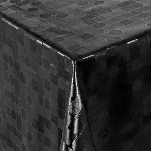 Tischdecke Abwaschbar Wachstuch Relief Karos Kreise Schwarz im Wunschmaß