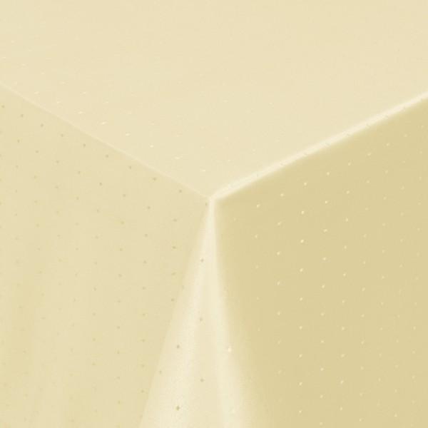 Tischdecken Damast Eckig mit Saum Punkte Creme-Beige
